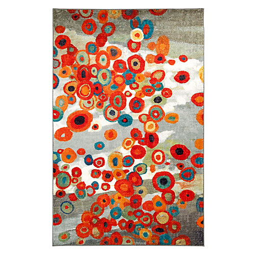 Tossed Floral Multi-Colour 5 ft. x 8 ft. Indoor Contemporary Rectangular Area Rug