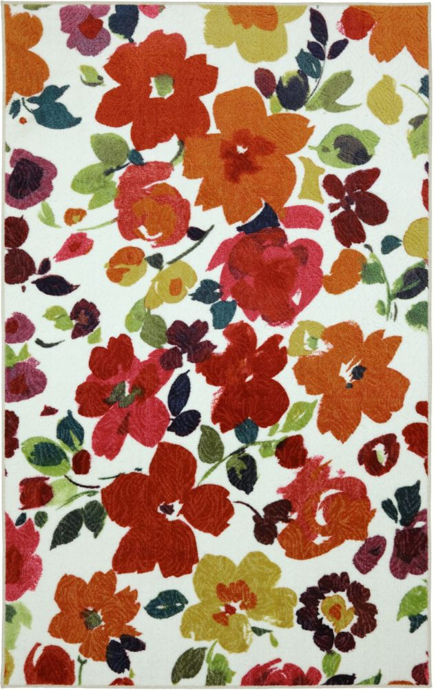 Mohawk home bright floral toss 96 inch x 120 inch rug for Bright floral area rugs