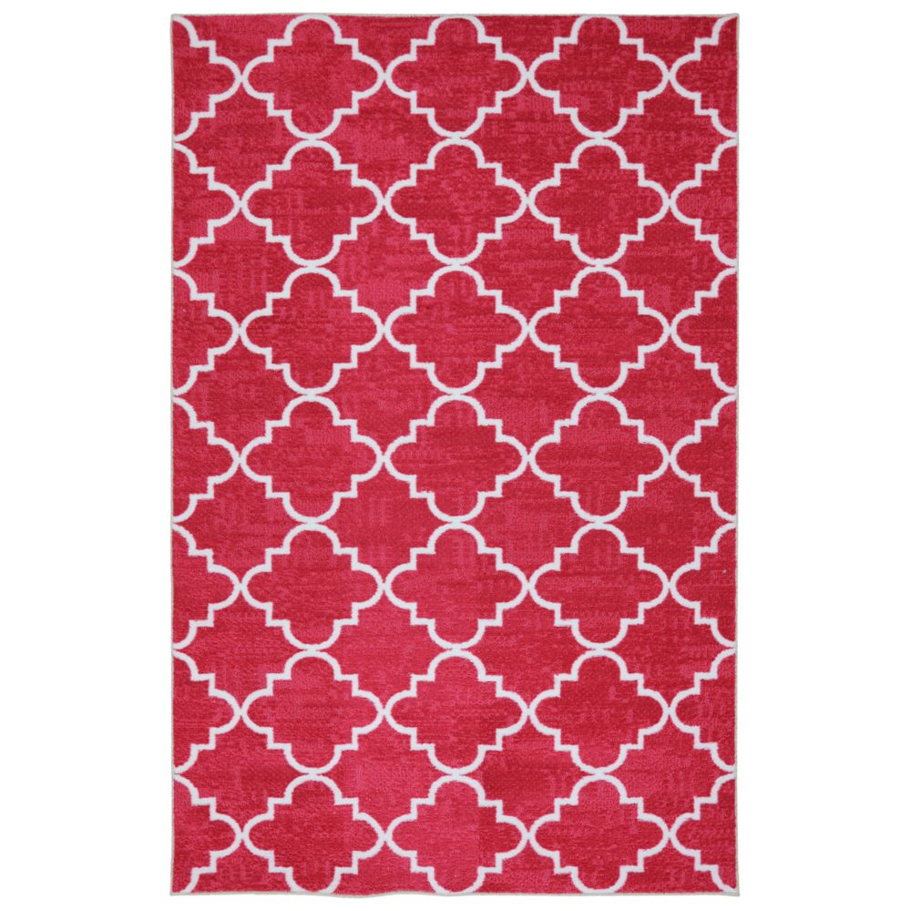 Fancy Trellis Hot Pink 96 Inch x 120 Inch Rug