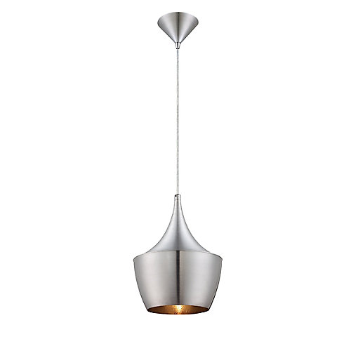 Piquito Collection 1 Light Brushed Aluminum Pendant