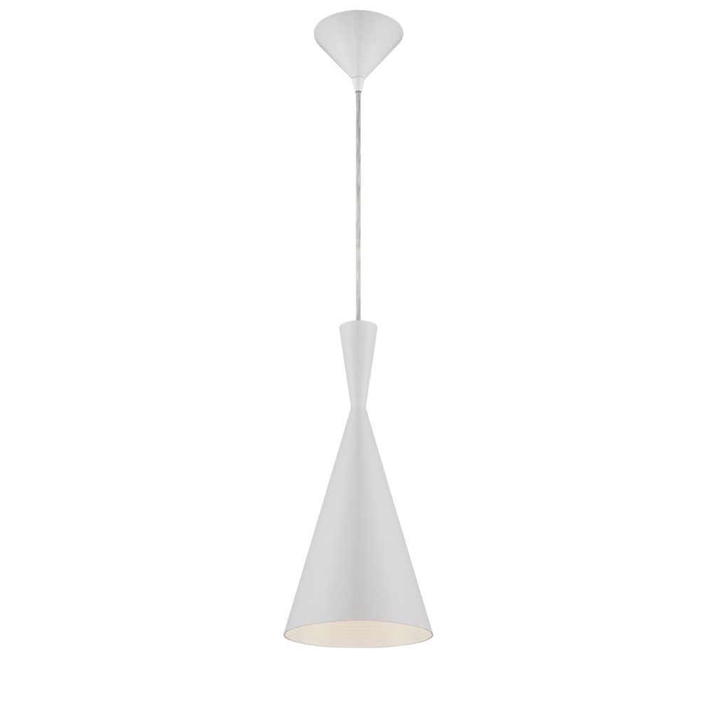 Bronx Collection 1 Light White Pendant
