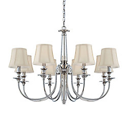 Eurofase Mona Collection 8 Light Polished Nickel Chandelier