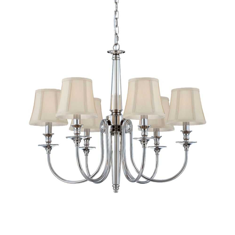 Mona Collection 6 Light Polished Nickel Chandelier
