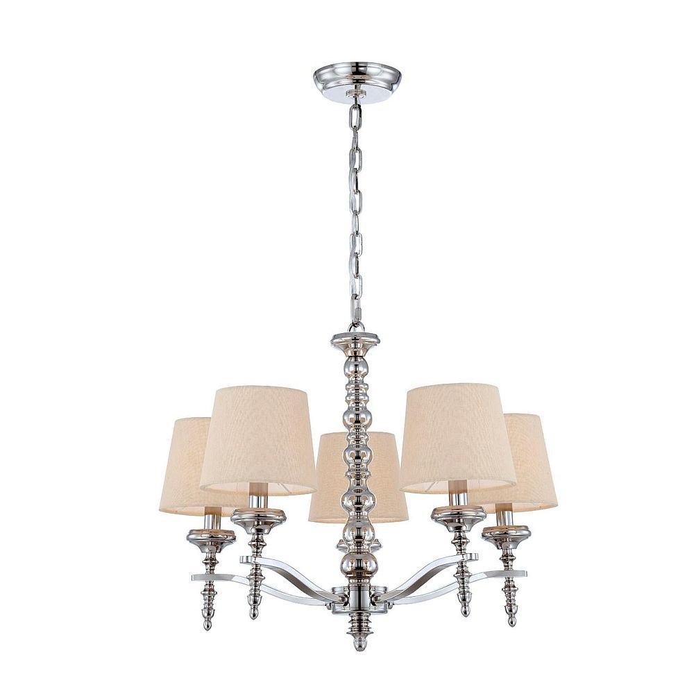 Jana Collection 5 Light Polished Nickel Chandelier