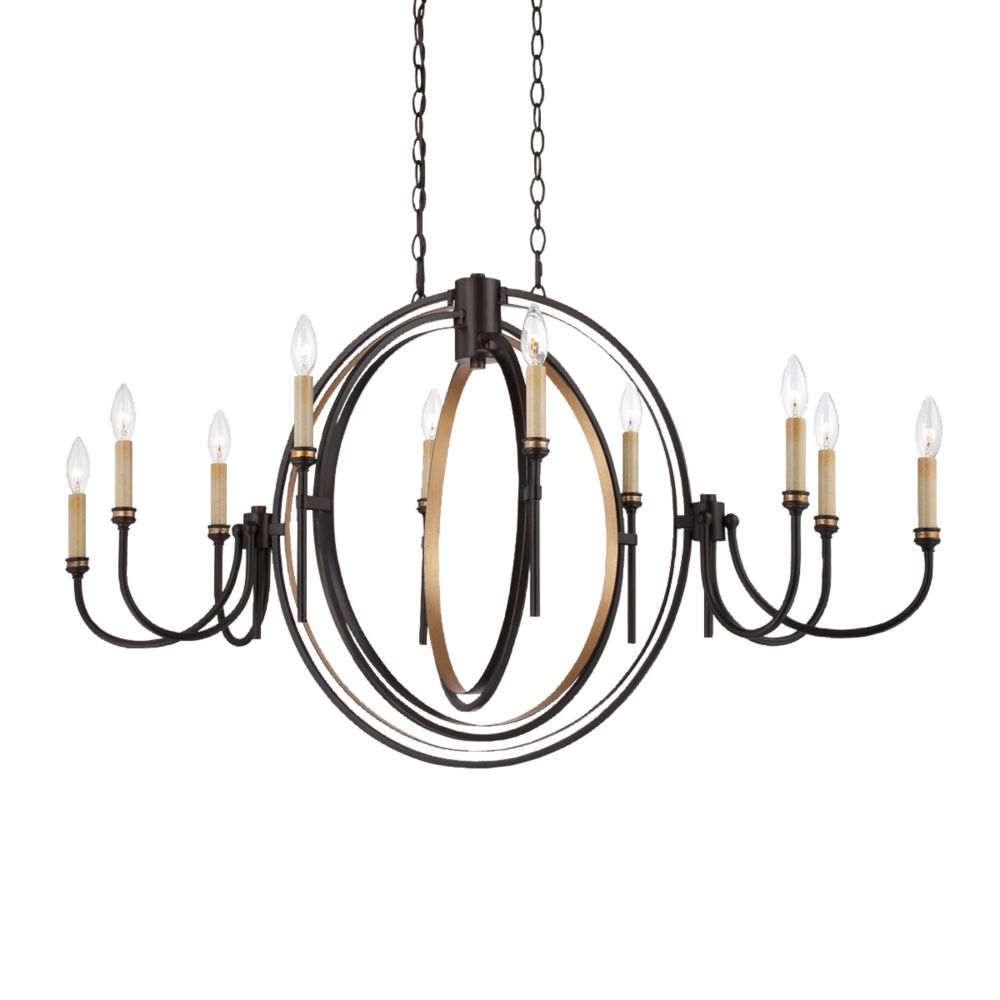 Infinity Collection 10 Light Oil Rubbed Bronze Oval Chandelier
