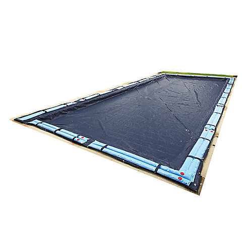 Bâche hivernale rectangulaire pour piscine creusée de 9,1 m x 15,2 m (30 pi x 50 pi), garantie de 8 ans