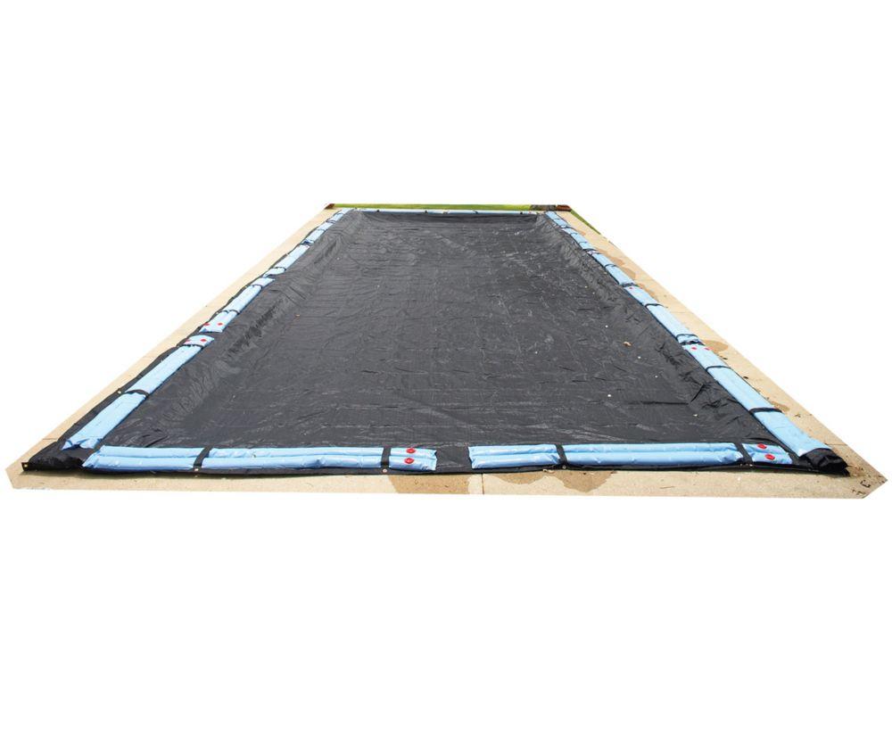 Couverture hivernale rectangulaire en mailles rugueuses pour piscine creusée de 30 pi. (9,1 m) x ...