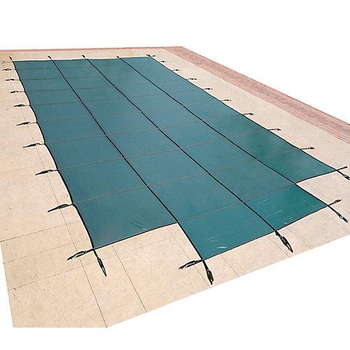 Bâche de sécurité rectangulaire en maille pour piscine creusée, 5,4 m x 10,9 m (18 pi x 36 pi), avec centre étape 1,2 m x 2,4 m (4 pi x 8 pi) - Vert