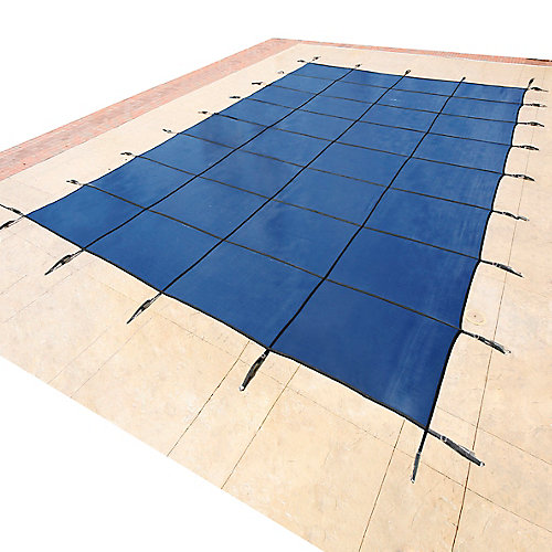 Bâche de sécurité rectangulaire en maille pour piscine creusée, 4,2 m x 8,5 m (14 pi x 28 pi) - Bleu