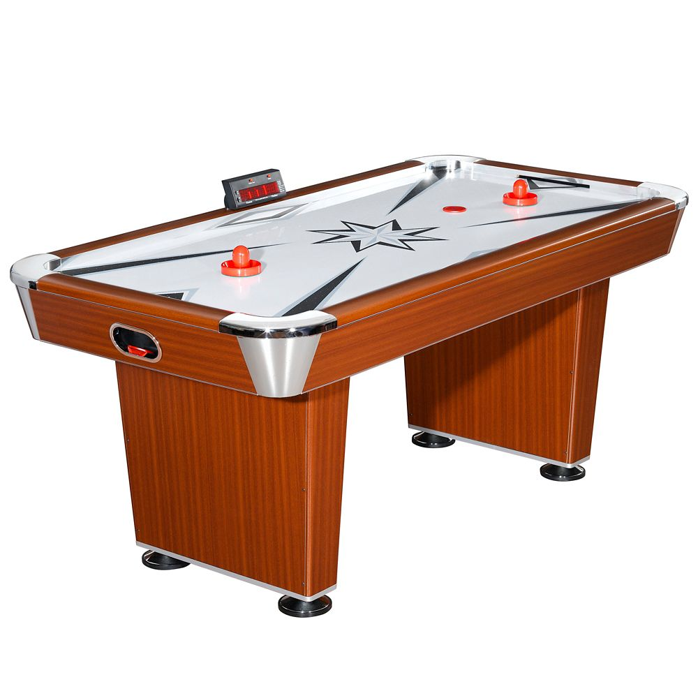 Hathaway Midtown 6-Foot Air Hockey Family Game Table with Electronic Scoring, High-Powered Blower, Cherry Wood-Tone, Strikers and Pucks