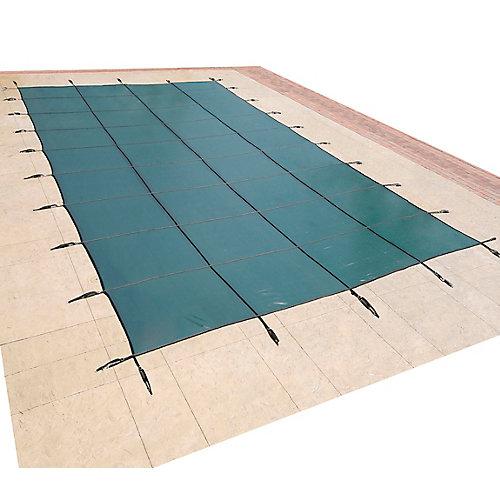 Bâche de sécurité rectangulaire en maille pour piscine creusée, 4,8 m x 9,7 m (16 pi x 32 pi) - Vert