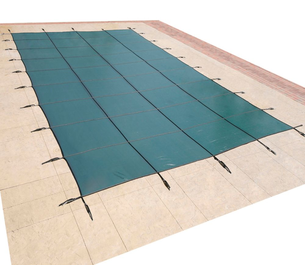 16 Feet x 32 Feet Rectangular In Ground Pool Safety Cover - Green
