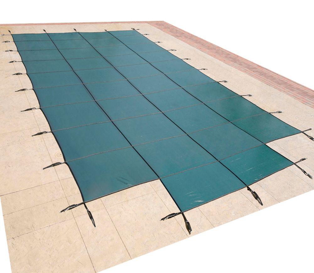 16 Feet x 32 Feet Rectangular In Ground Pool Safety Cover w/ 4 Feet x 8 Feet Center Step - Green