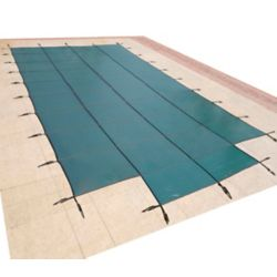 Blue Wave 16 ft. x 32 ft. Rectangular Green In-Ground Pool Safety Cover with 4 ft. x 8 ft. Center Step