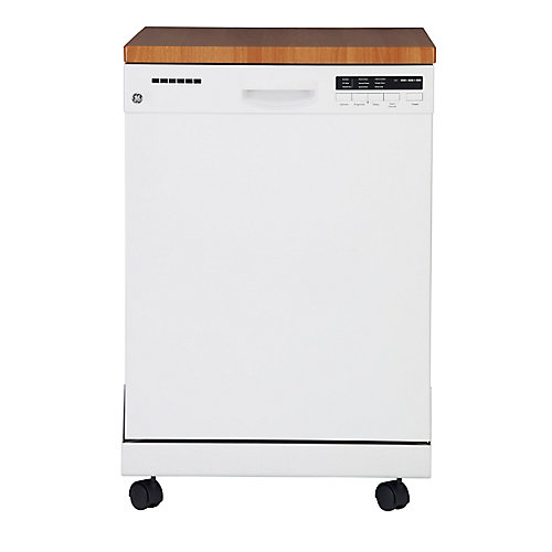 24-inch Portable Dishwasher with Stainless Steel Tub in White