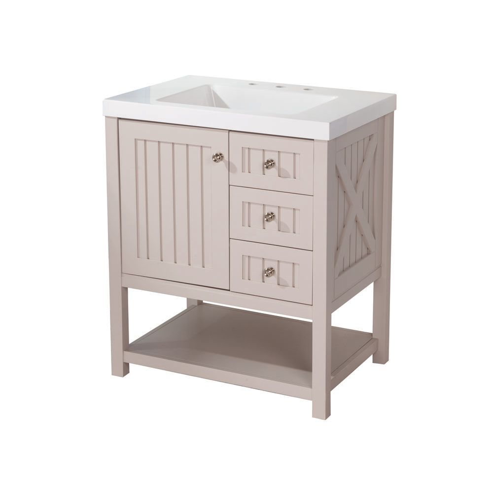 Seal Harbor 30-inch W Vanity in Sharkey Grey Finish with Top in Alpine White