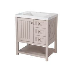 Martha Stewart Living Seal 30-inch W 3-Drawer 1-Door Freestanding Vanity in Grey With Ceramic Top in White