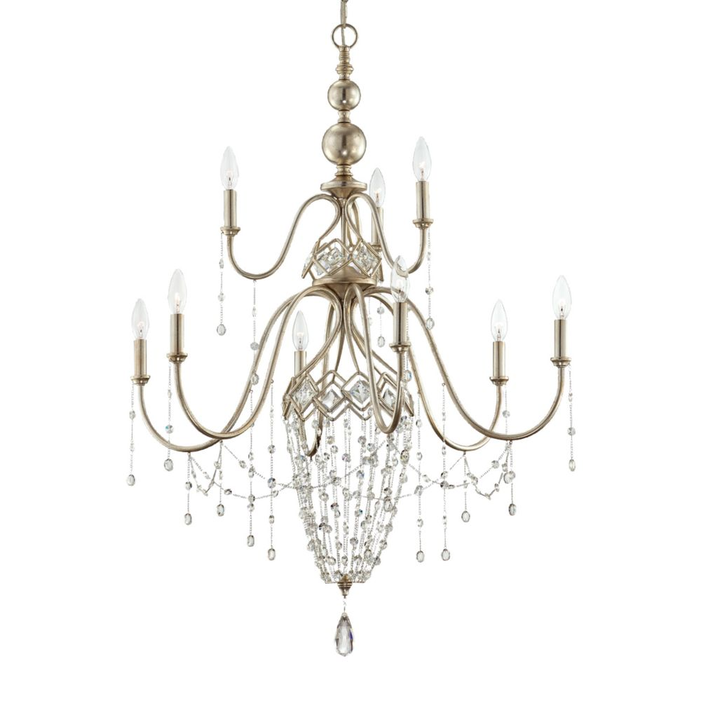Collana Collection 9 Light Silver Leaf Chandelier