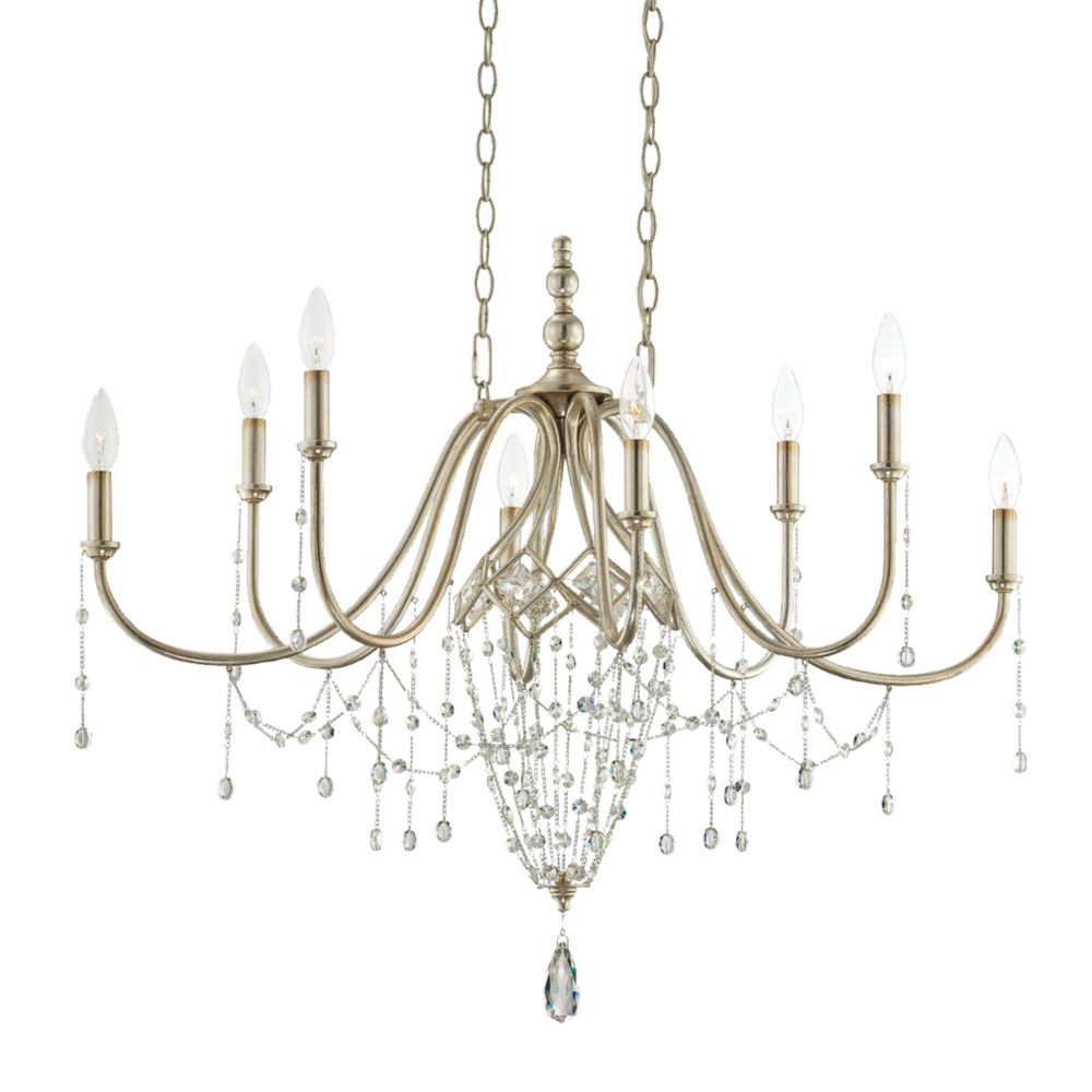 Collana Collection 8 Light Silver Leaf Island Chandelier