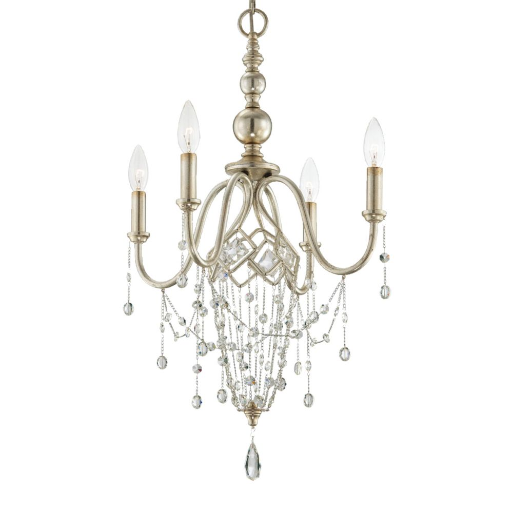 Collana Collection 4 Light Silver Leaf Chandelier