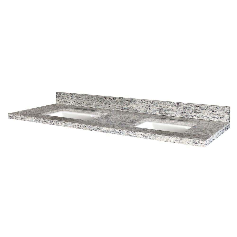 Santa Cecilia 61-Inch W x 22-Inch D Granite Vanity Top with 2 Trough Bowls