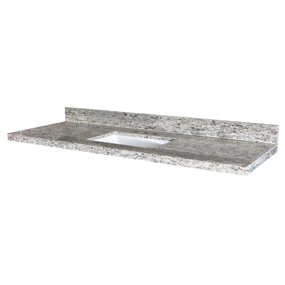 Santa Cecilia 61-Inch W x 22-Inch D Granite Vanity Top with Trough Bowl