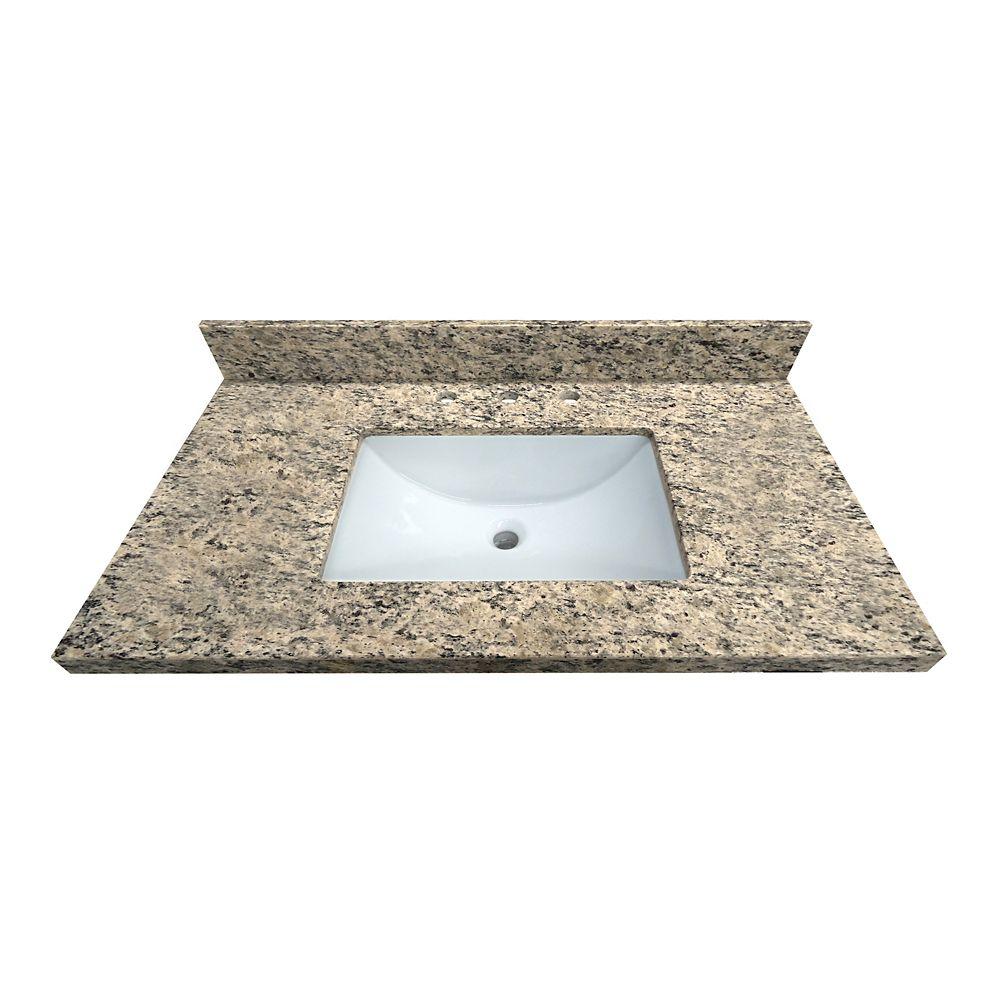Santa Cecilia 37-Inch W x 22-Inch D Granite Vanity Top with Trough Bowl