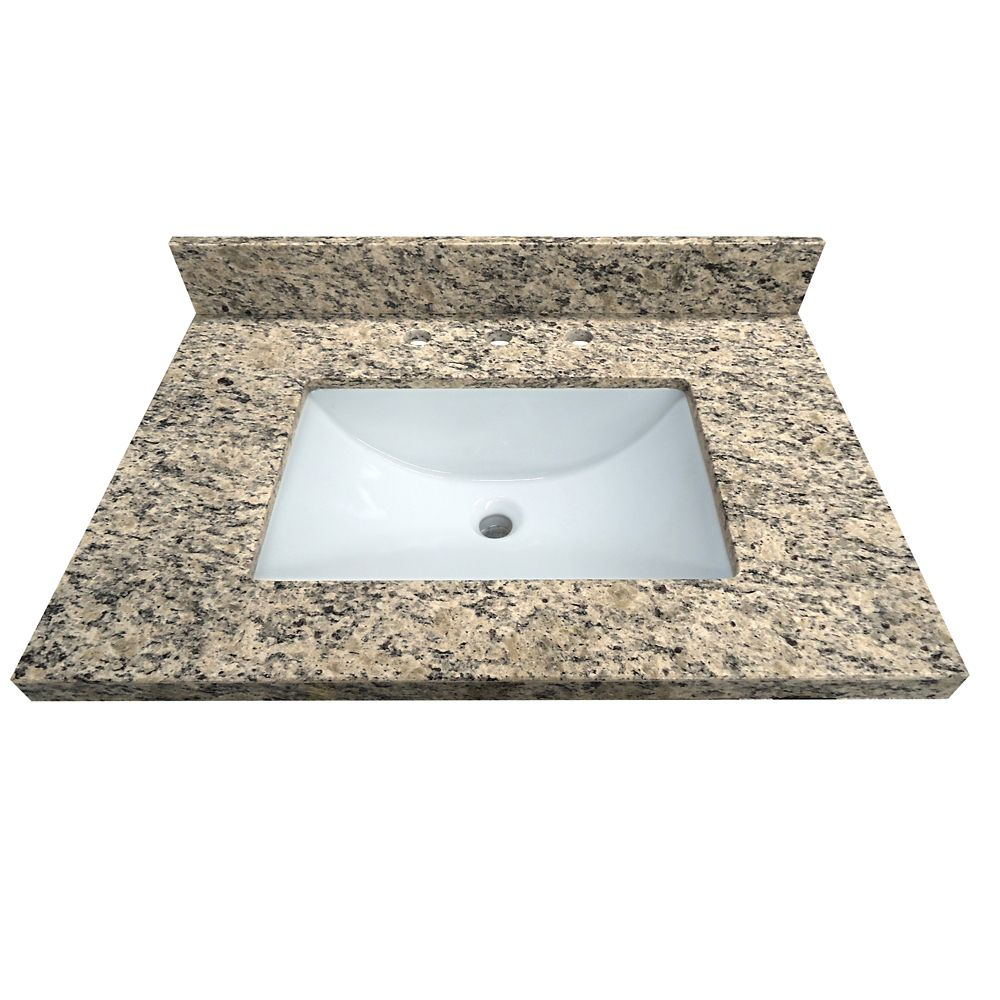 Santa Cecilia 31-Inch W x 22-Inch D Granite Vanity Top with Trough Bowl