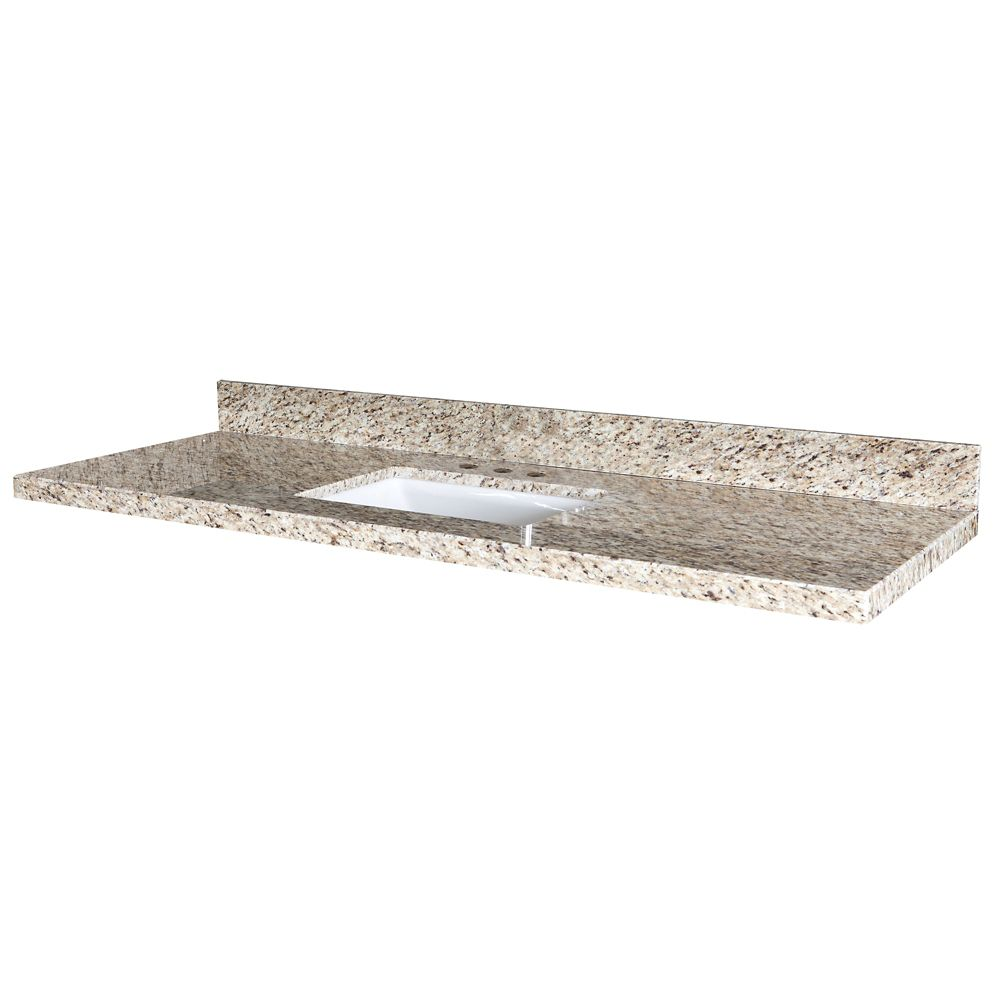 Giallo Ornamental 61-Inch W x 22-Inch D Granite Vanity Top with Trough Bowl