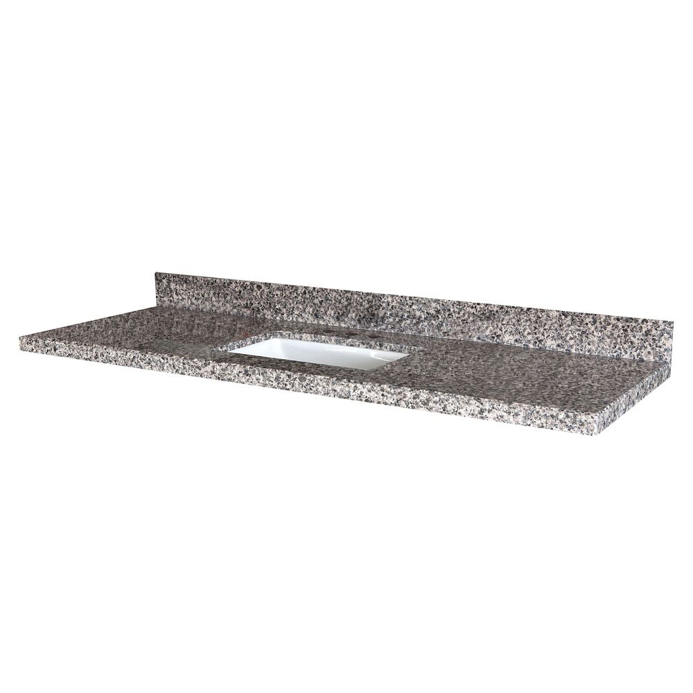 Sircolo 61-Inch W x 22-Inch D Granite Vanity Top with Trough Bowl
