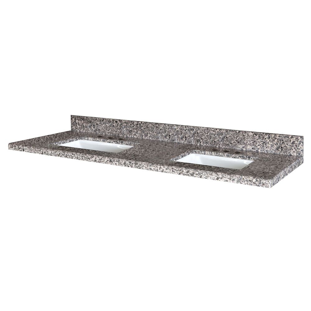 Sircolo 61-Inch W x 22-Inch D Granite Vanity Top with 2 Trough Bowls
