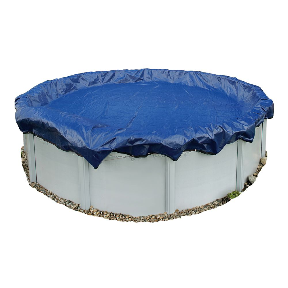 Gold Grade 18 ft. Round Above Ground Winter Pool Cover with 15-Year Warranty in Navy Blue