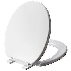 GLACIER BAY Round Plastic Toilet Seat in White