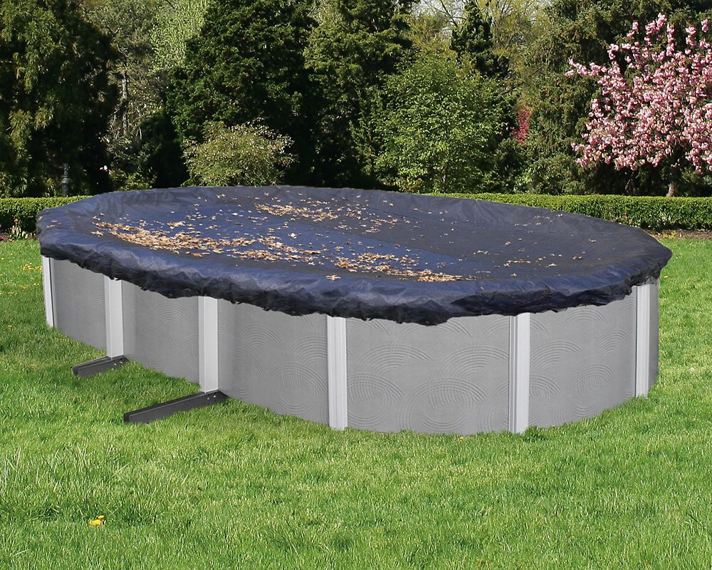 Blue Wave 12 ft. x 24 ft. Oval Leaf Net Above-Ground Pool Cover