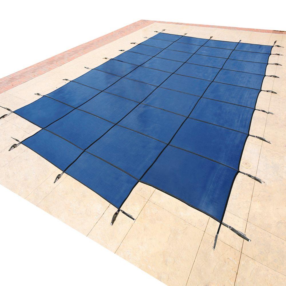 Blue Wave  Bâche de sécurité rectangulaire en maille pour piscine creusée, 5,4 m x 10,9 m (18 pi x 36 pi), avec centre étape 1,2 m x 2,4 m (4 pi x 8 pi) - Bleu