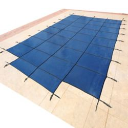 Blue Wave 16 ft. x 32 ft. Rectangular Blue In-Ground Pool Safety Cover with 4 ft. x 8 ft. Center Step
