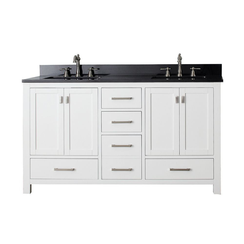 Modero 60-inch W Double Sink Vanity in White Finish with Granite Top in Black