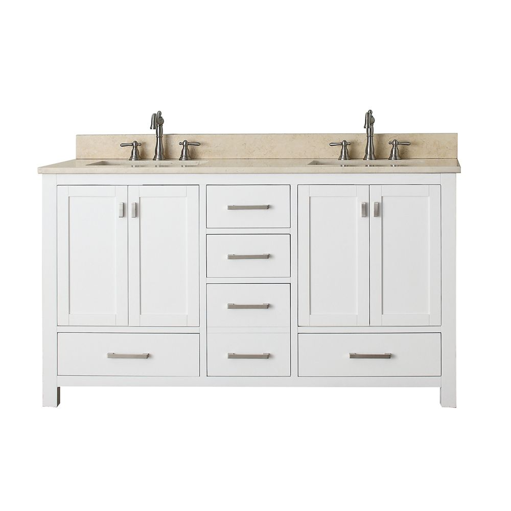 Modero 60-inch W Double Vanity with Marble Top in Galala Beige and White Double Sinks