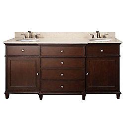 Avanity Windsor 73-inch W 4-Drawer Freestanding Vanity in Brown With Marble Top in Beige Tan, Double Basins