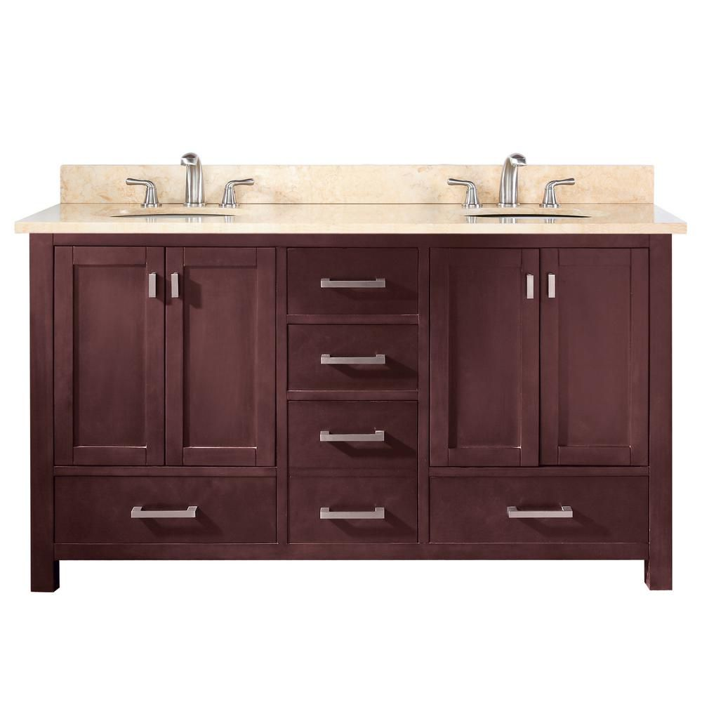 Modero 60-inch W Double Sink Vanity in Espresso Finish with Marble Top in Galala Beige