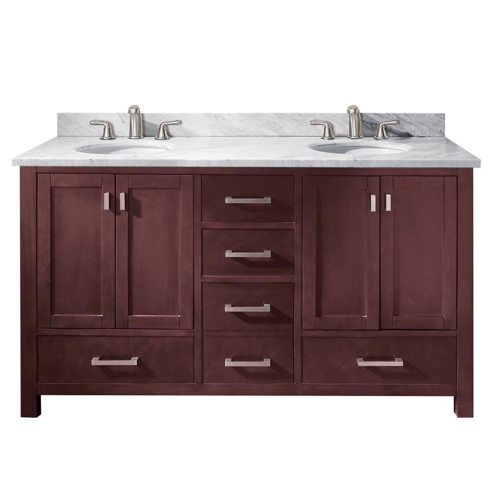 Modero 60-inch W Double Vanity with Marble Top in Carrara White and Espresso Double Sinks