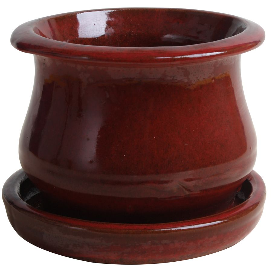 6 Inch.  Low Bell Planter Red