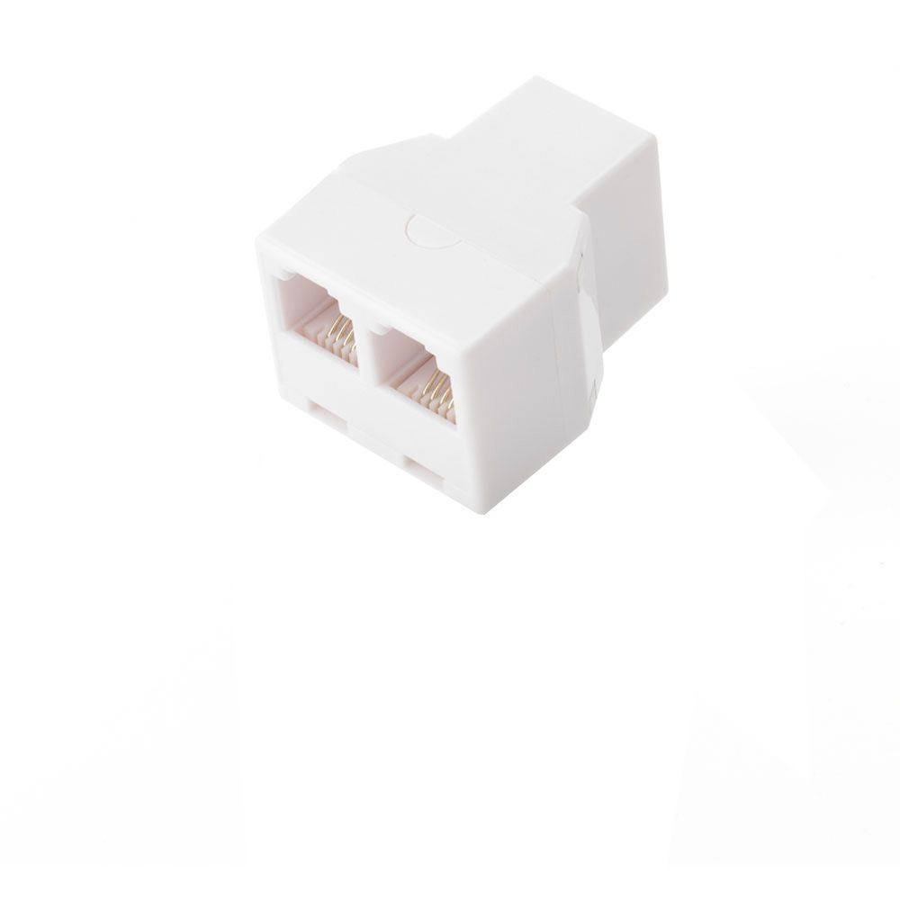 Commercial Electric 2-Way Phone Splitter-WHITE (Female)