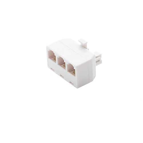 Commercial Electric 3-Way Telephone Splitter - White