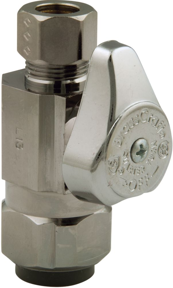 BrassCraft Straight Valve 1/2 Inch Nominal Push Connect X 3/8 Inch Od Compression