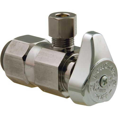 BrassCraft Angle Valve 1/2 Inch Nominal Push Connect X 1/4 Inch Od Compression