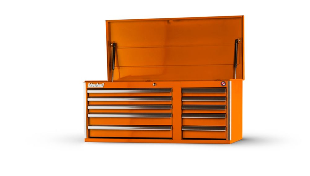 42 Inch 10 Drawer Orange Top Chest