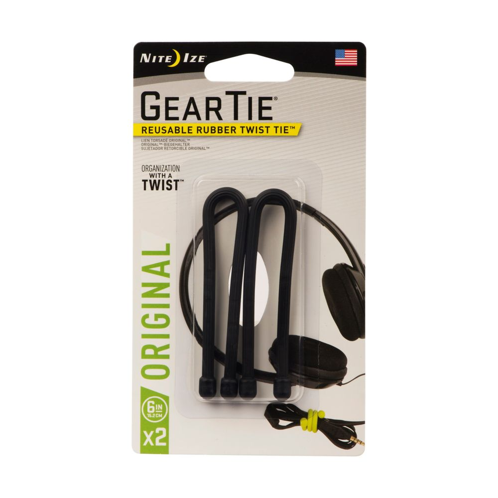 Gear Tie 6 Inch. 2-Pack Black