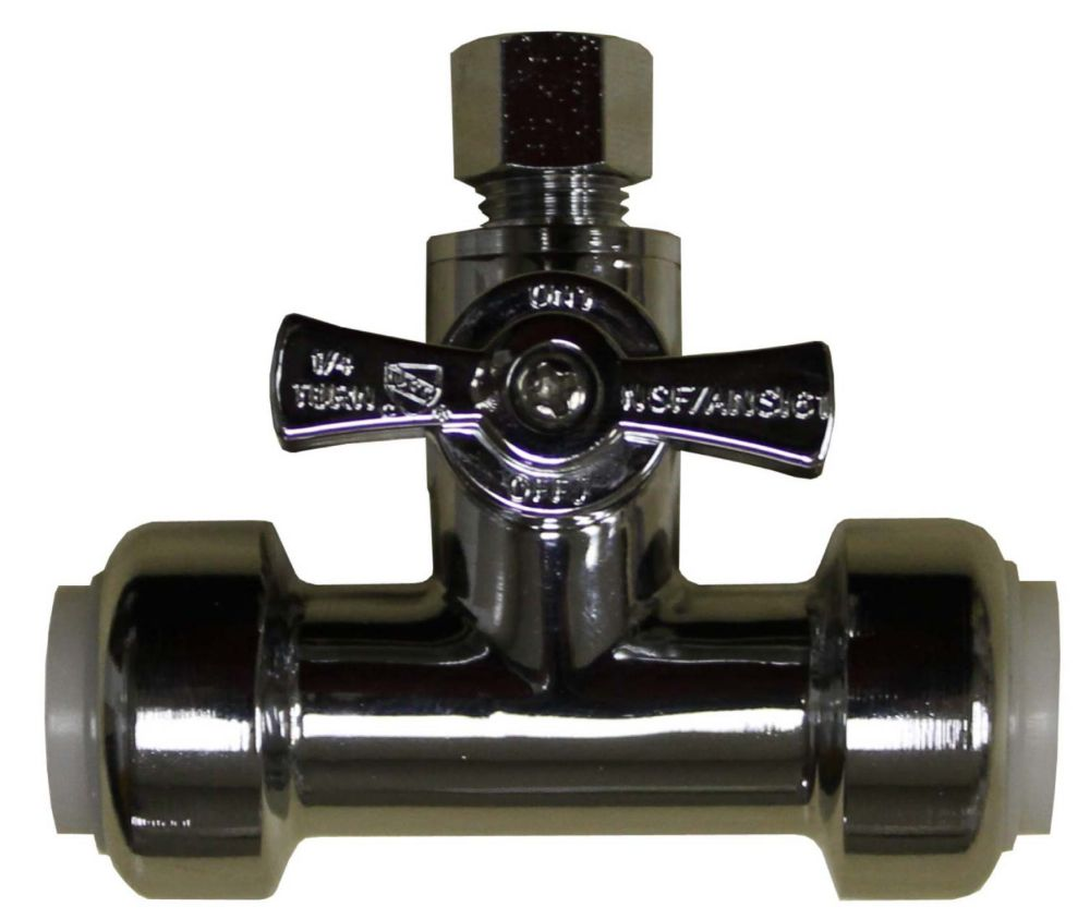 "Push'N'Connect Tee Valve 1/2"" Inch x 1/2 Inch x 3/8 Inch"