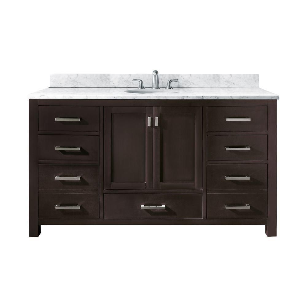 Avanity Modero 61-inch W 7-Drawer Freestanding Vanity in Brown With Marble Top in White, Double Basins